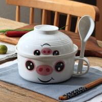 【优选】泡面碗带盖把手超大容量陶瓷日式宿舍学生方便面碗大号一人食餐具
