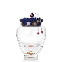 唐丰玻璃金箔茶叶罐加厚储藏罐日式透明密封罐家用保鲜罐