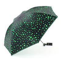 天堂 荧光点点 防晒 韩版黑胶遮阳伞 防紫外线太阳伞 折叠三折晴雨两用伞 雨伞雨具