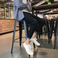 2018秋冬新款牛仔裤男学生修身小脚韩版潮流九分休闲灰色裤子男潮