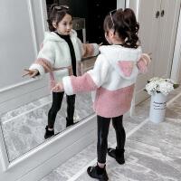 中大儿童韩版毛毛衣洋气大衣2019新款女童加绒加厚秋冬装外套
