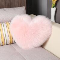 简约欧式仿羊毛抱枕长毛绒床头靠垫沙发靠枕可爱心形含芯全色定制