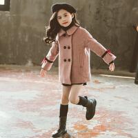 儿童韩版中长款加厚呢子外套2019新款中大童女童毛呢洋气呢子大衣