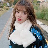 韩版仿可爱毛毛绒獭兔毛围巾女秋冬季学生围脖套头白色百搭男少女