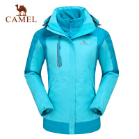 camel骆驼户外冲锋衣 新女款冲锋衣保暖抗静电两件套抓绒冲锋衣