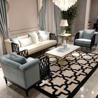 【热卖新品】新中式沙发组合样板房别墅酒店茶楼工程禅意客厅全套实木家具定制 其他