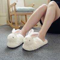 日式可爱卡通兔子室内拖鞋女士冬季加厚绒保暖家用家居鞋