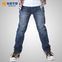 【儿童节大促-快抢券】英格里奥童装男童冬装双层加厚裤子 休闲牛仔裤601D