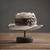 装饰品摆件创意客厅酒柜摆设家居饰品树脂工艺品美式复古树脂帽子女士礼帽收纳摆件