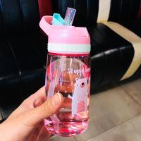 儿童卡通水杯可爱小学生吸管杯子幼儿园男女塑料水壶防摔便携夏季