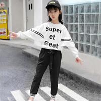 女童卫衣套装女童秋装套装2018新款韩版中大儿童装女宽松卫衣洋气时髦两件套潮XM-4