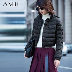 AMII[极简主义]秋冬时尚新女大码高领扣钮90绒短羽绒11581641