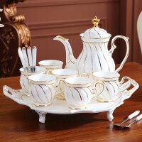 轻奢欧式茶具套装家用英式下午茶陶瓷茶杯茶壶咖啡杯套装结婚礼物 8件