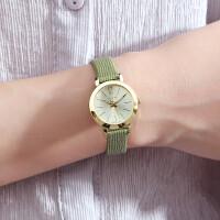 简约女表小清新绿色皮带时装表复古女士手表学生表