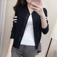 针织毛衫女秋冬款韩版学生针织外套短款长袖修身棒球服女装夹克f 均码