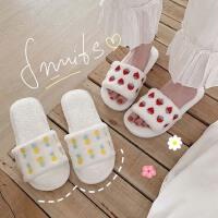 细细条 ins网红软萌水果可爱刺绣菠萝草莓棉拖鞋女室内居家秋冬季