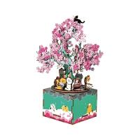樱花树下旋转DIY音乐盒手工木质八音盒创意情人节礼物