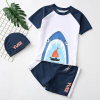 小孩宝宝温泉游泳装儿童泳衣男童中大童分体平角泳裤套装