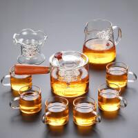 唐丰茶具套装家用玻璃透明茶壶鎏银功夫泡茶器日式过滤实木侧把壶