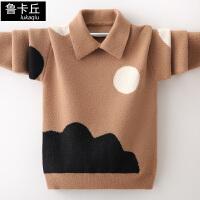 儿童加绒加厚秋冬款中大童针织衫男童洋气套头翻领毛衣