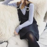 毛呢背带裙秋冬新款V领小香风修身直筒吊带打底连衣裙背心裙