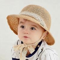 女童太阳帽草帽凉帽童帽儿童帽子夏季宝宝帽遮阳帽男童渔夫帽