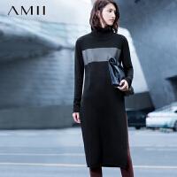 【AMII 超级品牌日】AMII[极简主义]冬新修身高领撞色侧摆高开衩连衣裙11581797