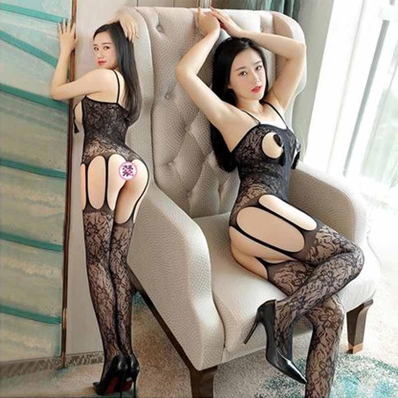 丝袜性感情趣骚女长筒过膝高筒长袜黑丝蕾丝免脱开裆开档吊带丝袜