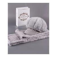 冬天老人帽子兔毛帽子女中老年女士妈妈保暖加厚绒针织帽老年人帽 套装帽子+围巾 加绒加厚有弹性53-60头围都可以戴