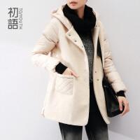 初语冬季新款 可拆帽拼接格纹口袋长款羽绒服女8440910030