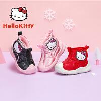 【3折�r:107.7元】HelloKitty�P蒂�童鞋女童雪地靴2020冬季新款女����小童保暖靴子防水 K0543989