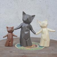 时尚现代工艺品 家居客厅桌面摆件 创意黑白如意陶瓷三口之家小熊 三口之家小熊
