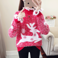 加厚外穿红色毛衣女2019新款秋冬仿水貂绒圣诞宽松套头麋鹿打底衫