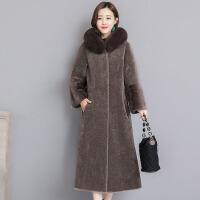羊剪绒大衣女2018新款冬季长款皮草外套女士连帽一体韩版显瘦