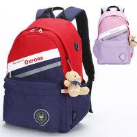 牛津大学小学生书包3-6年级5英伦风三女童双肩背包六护脊背送小熊