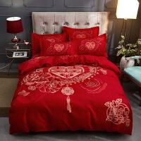 被套四件套全棉纯棉床单简约结婚庆大红4件套件可爱儿童婚嫁床品