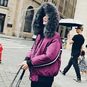 实拍2018新款羽绒服 女短款飞行服休闲运动风棉服可拆卸帽外套
