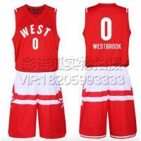 0号威斯布鲁克篮球服 2016全明星球衣东西部篮球服套装背心 团购比赛装 免费定制LOGO设计印字印号