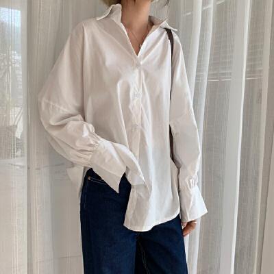 三木子快时尚女装~纯色长袖衬衣春装女2019新款韩版百搭宽松衬衫
