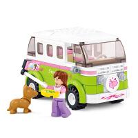 快乐小鲁班拼装积木玩具车女生早教智力塑料积木旅行车抖音