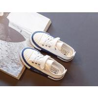 女童帆布鞋秋季�和�休�e鞋男童�底板鞋中大童小白鞋