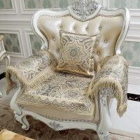 欧式真皮沙发垫坐垫布艺套巾四季通用防滑美式咖色红色
