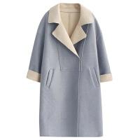 长款毛呢外套女秋冬新款韩版西装领长袖宽松休闲流行呢子大衣