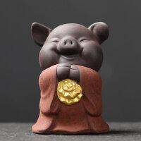 【品牌热卖】紫砂茶宠创意五福猪摆件手工可养茶艺迷你描金茶玩茶具配件