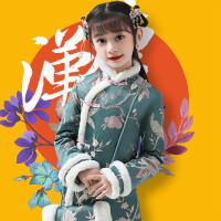 女童拜年服秋冬�b����洋�馓蒲b�和�旗袍�^年新年�h服裙子.