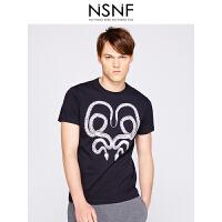 NSNF双蛇图案纯棉圆领黑色修身男款T恤 男装2017短袖新款 修身圆领针织短袖