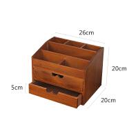 新品木制木质复古梳妆台化妆盒护肤品桌面抽屉式首饰化妆品收纳盒大号 两抽分格 做旧色