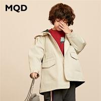 MQD男童连帽保暖工装风衣韩版夹棉加厚外套19秋冬新款儿童款
