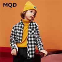 MQD童装格纹衬衫2019冬装新款儿童加绒加厚保暖内搭上衣宝宝衬衣