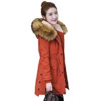 反季中长款棉衣女年冬季新款修身百搭大毛领加绒加厚